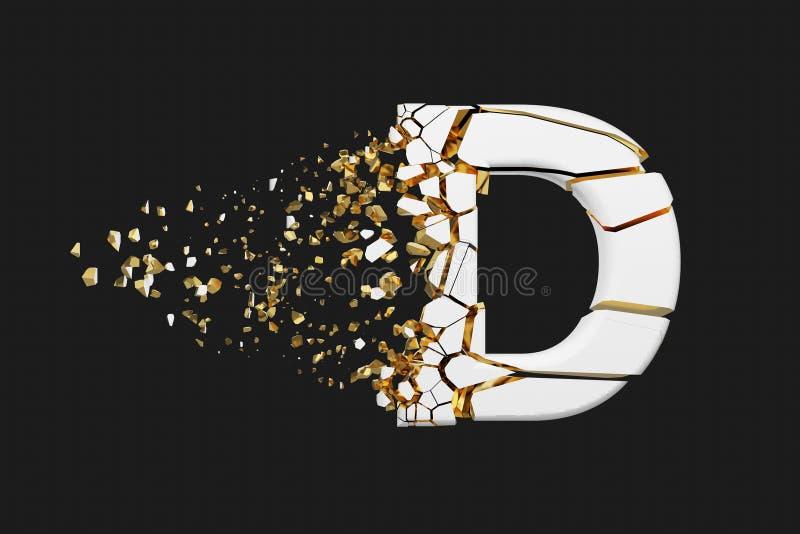 Mayúscula roto quebrado de la letra D del alfabeto Fuente machacada del blanco y del oro 3D rinden aislado en fondo gris ilustración del vector