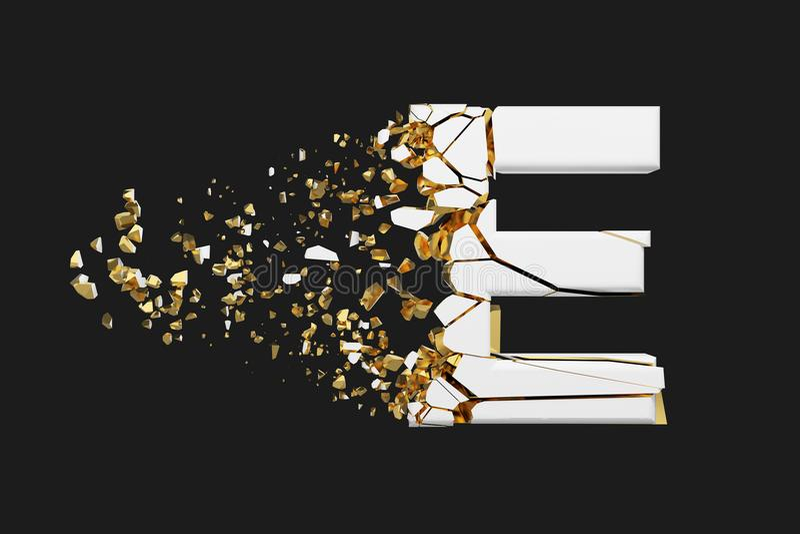 Mayúscula roto quebrado de la letra E del alfabeto Fuente machacada del blanco y del oro 3D rinden aislado en fondo gris libre illustration