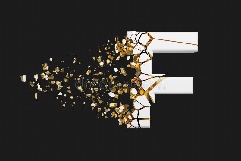 Mayúscula roto quebrado de la letra F del alfabeto Fuente machacada del blanco y del oro 3D rinden aislado en fondo gris libre illustration