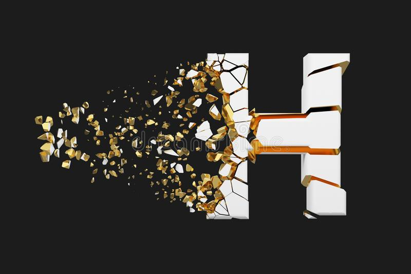 Mayúscula roto quebrado de la letra H del alfabeto Fuente machacada del blanco y del oro 3D rinden aislado en fondo gris ilustración del vector