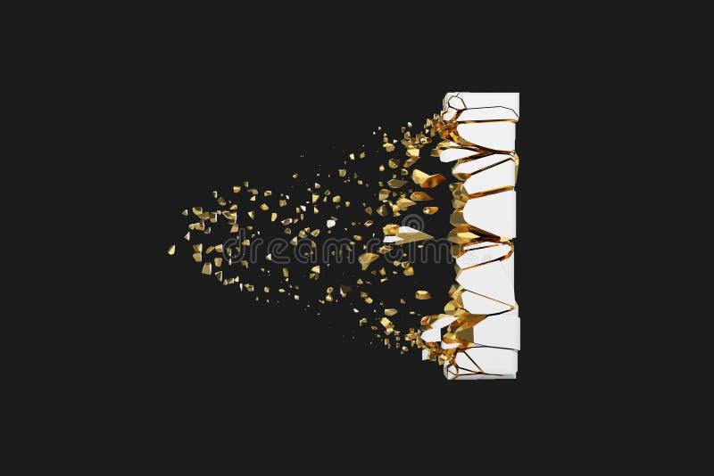 Mayúscula roto quebrado de la letra I del alfabeto Fuente machacada del blanco y del oro 3D rinden aislado en fondo gris stock de ilustración