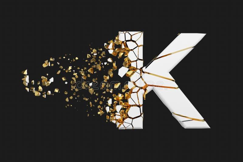 Mayúscula roto quebrado de la letra K del alfabeto Fuente machacada del blanco y del oro 3D rinden aislado en fondo gris stock de ilustración