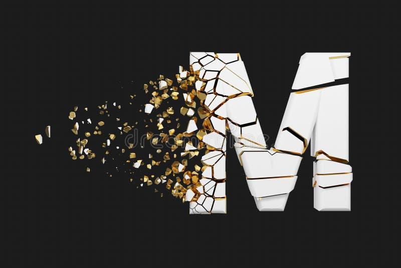 Mayúscula roto quebrado de la letra M del alfabeto Fuente machacada del blanco y del oro 3D rinden aislado en fondo gris stock de ilustración