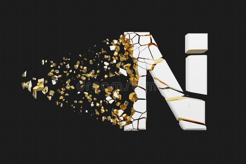 Mayúscula roto quebrado de la letra N del alfabeto Fuente machacada del blanco y del oro 3D rinden aislado en fondo gris libre illustration