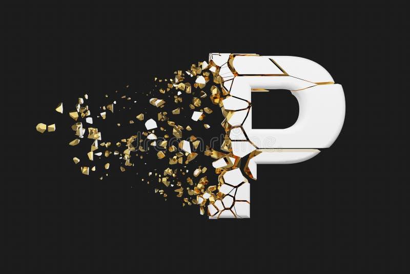 Mayúscula roto quebrado de la letra P del alfabeto Fuente machacada del blanco y del oro 3D rinden aislado en fondo gris libre illustration