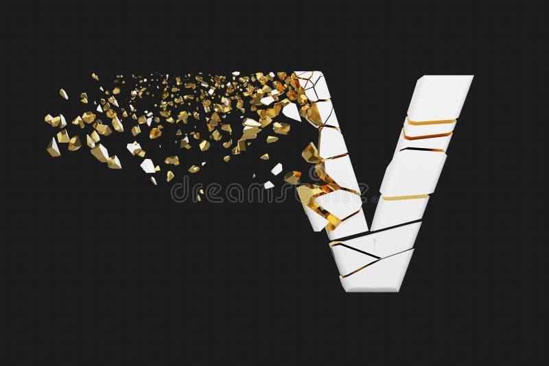 Mayúscula roto quebrado de la letra V del alfabeto Fuente machacada del blanco y del oro 3D rinden aislado en fondo gris stock de ilustración