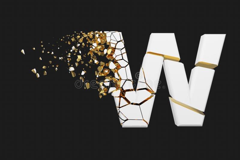 Mayúscula roto quebrado de la letra W del alfabeto Fuente machacada del blanco y del oro 3D rinden aislado en fondo gris stock de ilustración