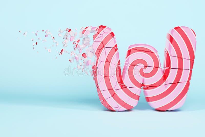 Mayúscula roto quebrado de la letra W del alfabeto Fuente machacada de la Navidad hecha de la piruleta rayada rosada y roja 3d ri libre illustration