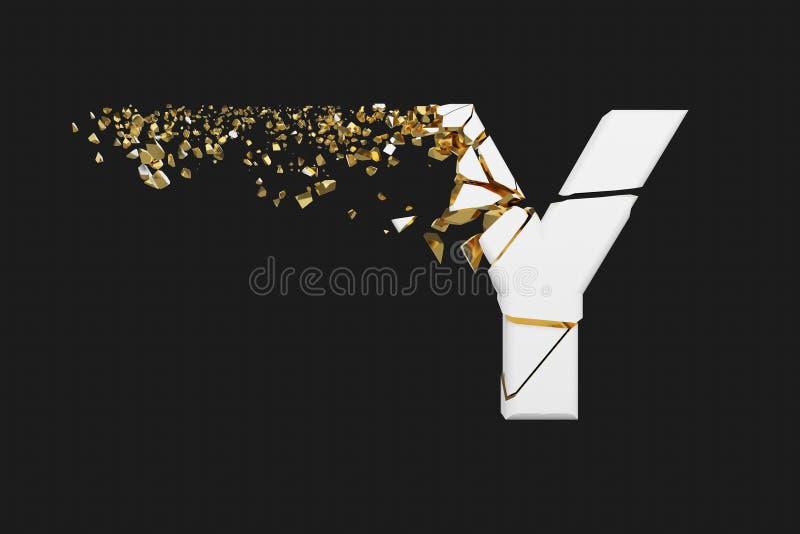Mayúscula roto quebrado de la letra Y del alfabeto Fuente machacada del blanco y del oro 3D rinden aislado en fondo gris stock de ilustración