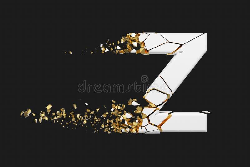 Mayúscula roto quebrado de la letra Z del alfabeto Fuente machacada del blanco y del oro 3D rinden aislado en fondo gris ilustración del vector