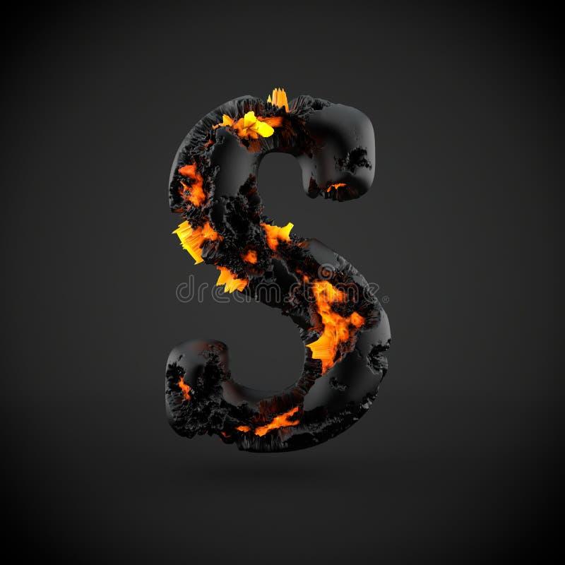 Mayúscula volcánico de la letra S del alfabeto aislado en fondo negro imagenes de archivo