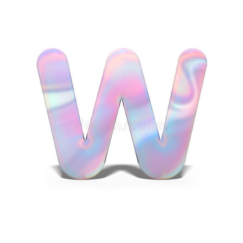 Mayúscula W del extracto 3d en diseño olográfico brillante Alfabeto brillante realista en la fuente rosada azul de neón, blanco a ilustración del vector