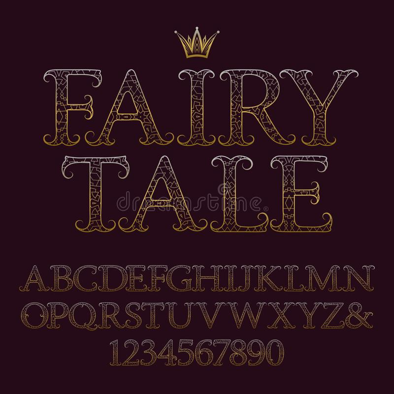 Mayúsculas y números modelados de oro Fuente decorativa del vintage Alfabeto inglés aislado con cuento de hadas del texto ilustración del vector
