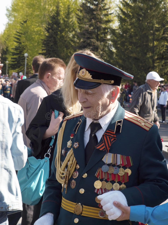 On May, 9th. Day of the Victory. Veterans. The city of Novouralsk. Sverdlovsk area stock photos