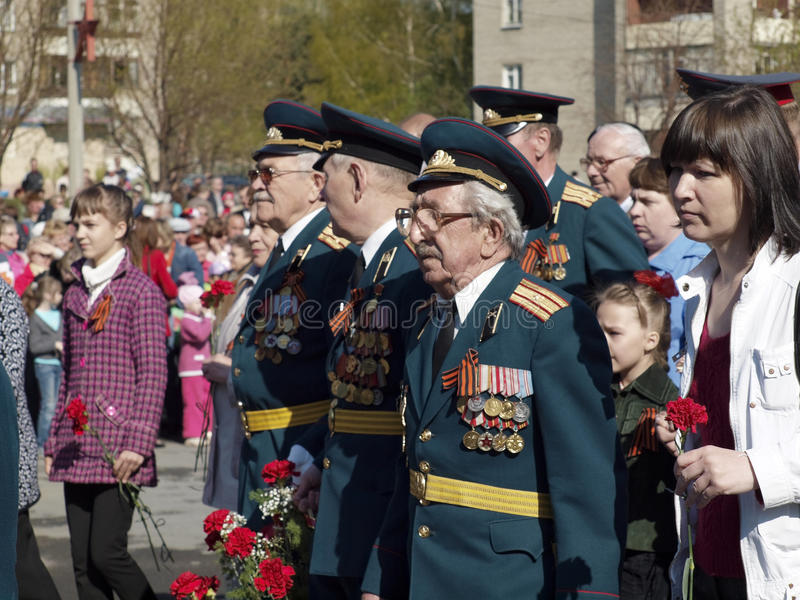 On May, 9th. Day of the Victory. Veterans. The city of Novouralsk. Sverdlovsk area stock images