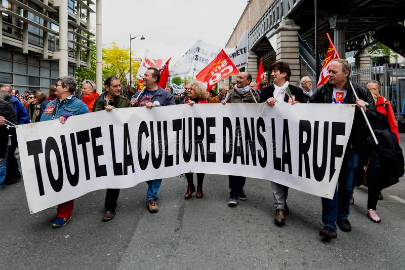 May 2018 - Anti Macron protest in Paris. Banner of protest against Macron government reforms royalty free stock photography