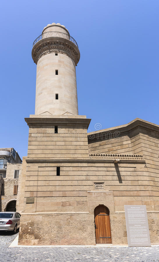 May 19, 2017 Baku, Azerbaijan. The mosque in the territory of Icheri Sheher. Historical and architectural monument. Baku, Azerbaijan. The mosque in the territory royalty free stock photography