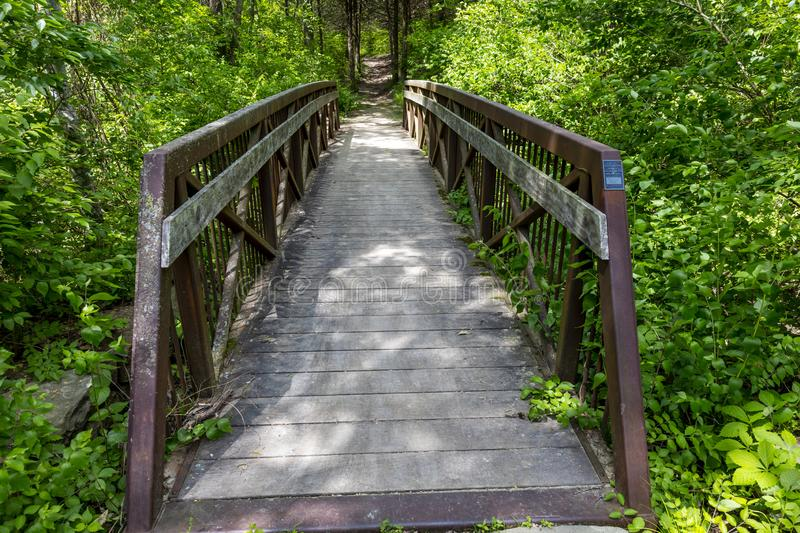 MAY 17 2019, Bridge to viewspot overlooking Lewis and Clark Expedition - May 14, 1804 - September 23, 1806 - Gasconade County. Outside of Jefferson City, MO stock photos