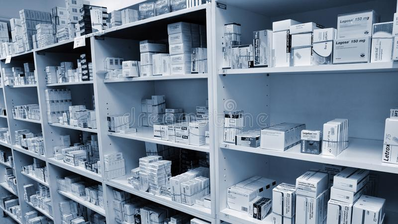 May 2, 2016 Brno Czech Republic. Interior of a pharmacy with goods and showcases. Medicines and vitamins for health. Shop concept,. Medicine and healthy royalty free stock images