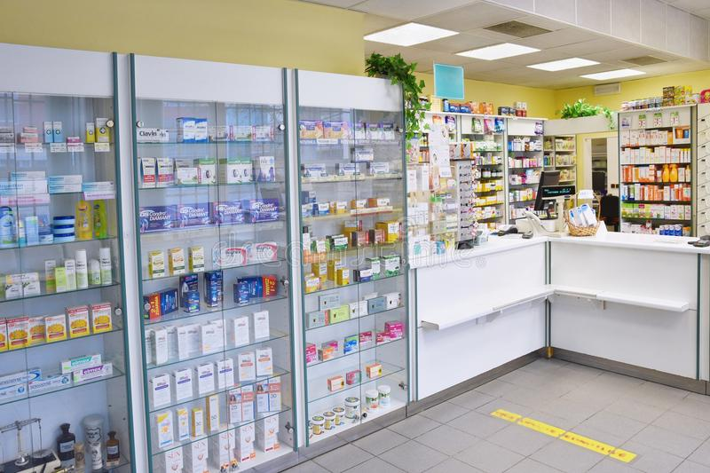 May 2, 2016 Brno Czech Republic. Interior of a pharmacy with goods and showcases. Medicines and vitamins for health. Shop concept,. Medicine and healthy stock photos