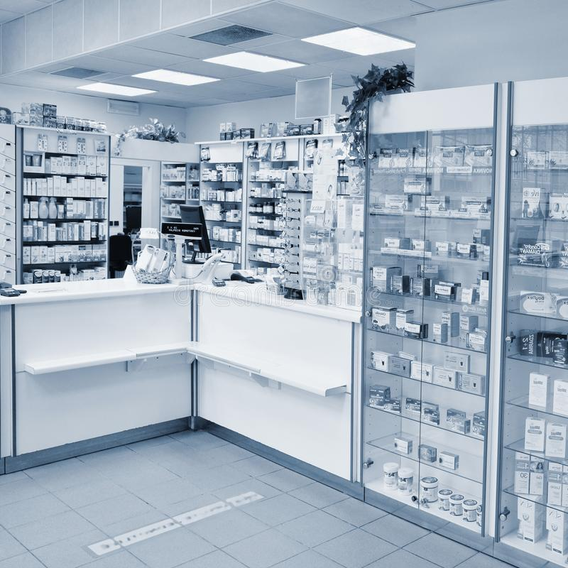 May 2, 2016 Brno Czech Republic. Interior of a pharmacy with goods and showcases. Medicines and vitamins for health. Shop concept,. Medicine and healthy royalty free stock image