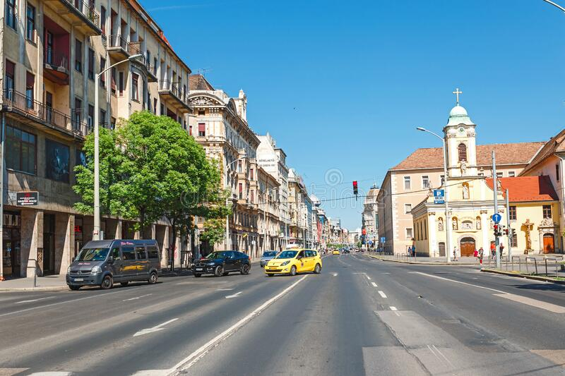 Almost empty street in centre of Budapest. 13 MAY 2018, BUDAPEST, HUNGARY: Almost empty street in centre of Budapest royalty free stock images