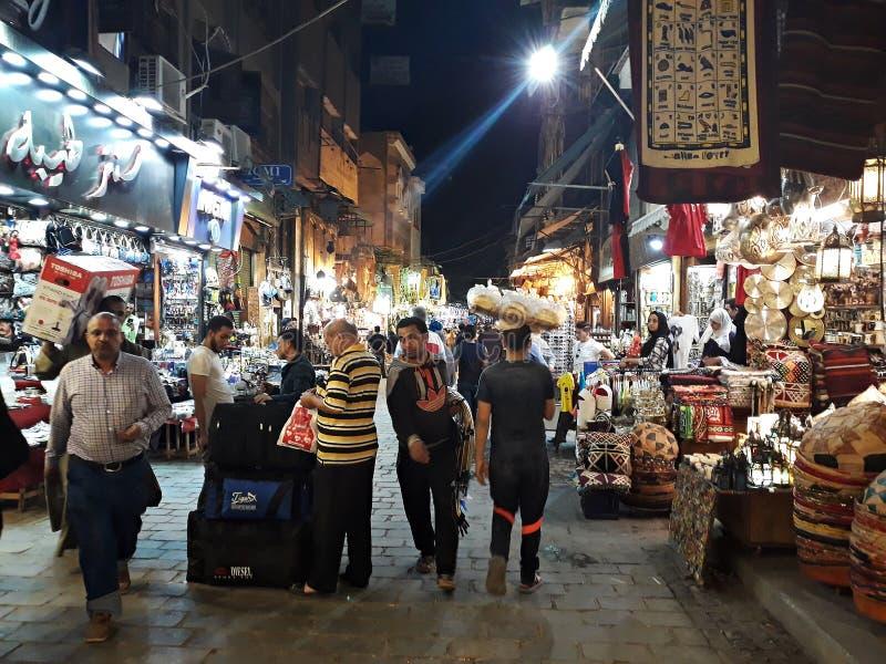 Khan El Khalili bazaar in Cairo. May, 3, 2019, Cairo, Egypt. View of a street at night in Khan El Khalili bazaar, one of Cairo`s most famous landmarks royalty free stock photo
