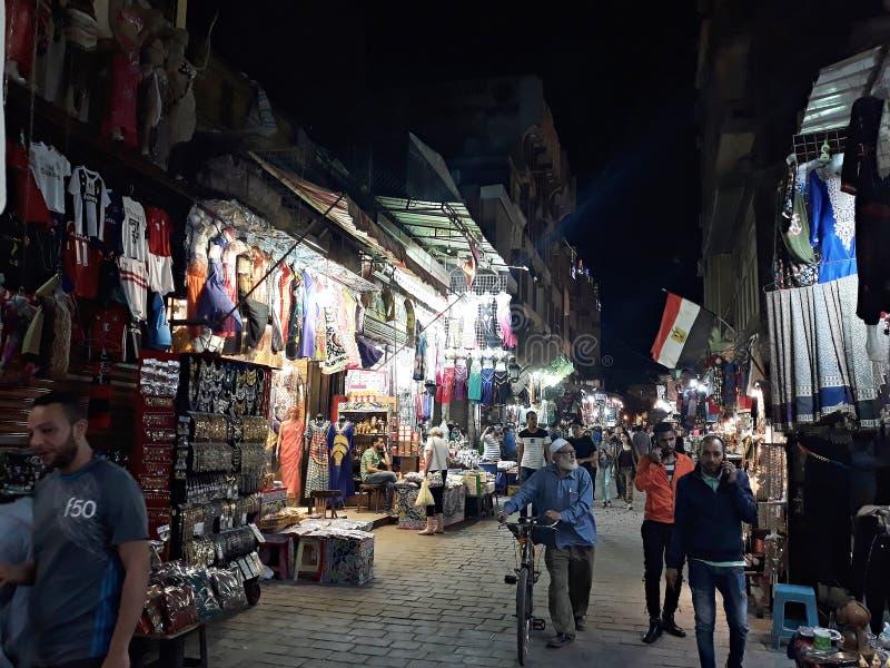 Khan El Khalili bazaar in Cairo. May, 3, 2019, Cairo, Egypt. View of a street at night in Khan El Khalili bazaar, one of Cairo`s most famous landmarks stock photography