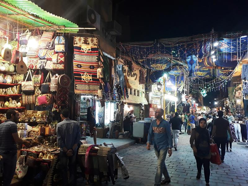 Khan El Khalili bazaar in Cairo. May, 3, 2019, Cairo, Egypt. View of a street at night in Khan El Khalili bazaar, one of Cairo`s most famous landmarks royalty free stock image