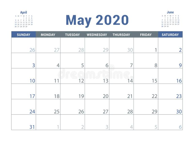 May 2020 calendar template stock illustration  Illustration
