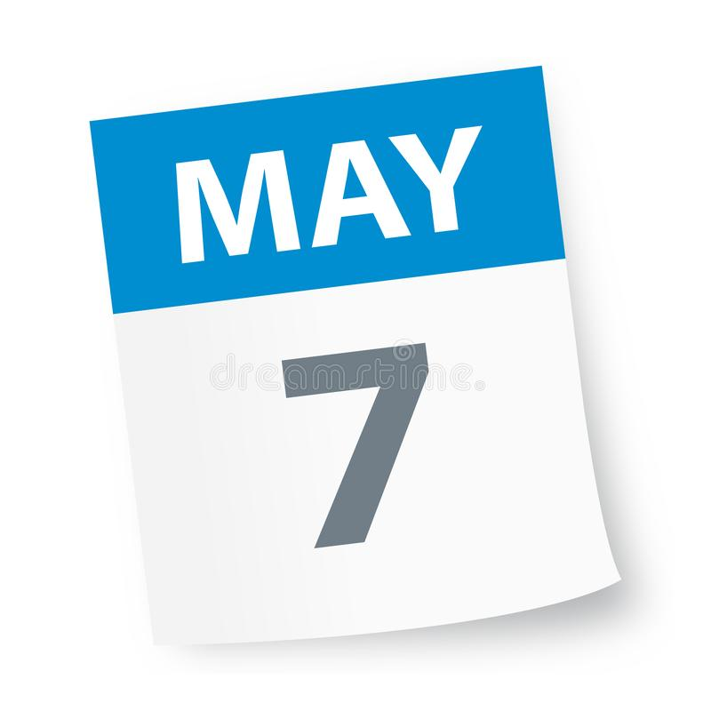 May 7 - Calendar Icon. Vector Illustration royalty free illustration