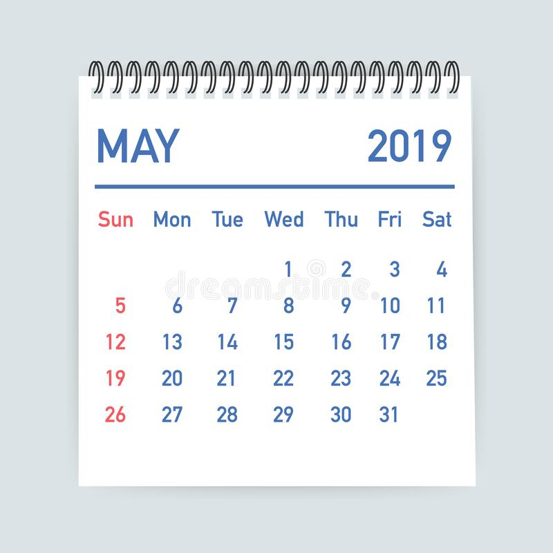 May 2019 Calendar Leaf. Calendar 2019 in flat style. A5 size. Vector illustration. royalty free illustration