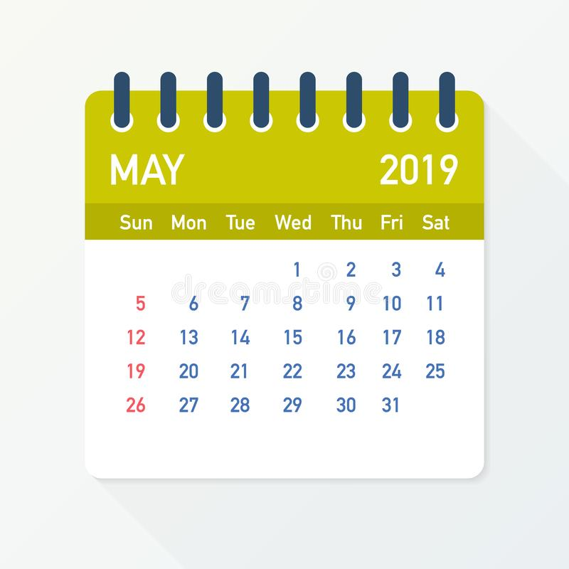 May 2019 Calendar Leaf. Calendar 2019 in flat style. Vector illustration. royalty free illustration