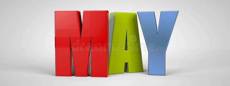 May calendar month multicolor text banner, 3d render. Illustrator royalty free illustration