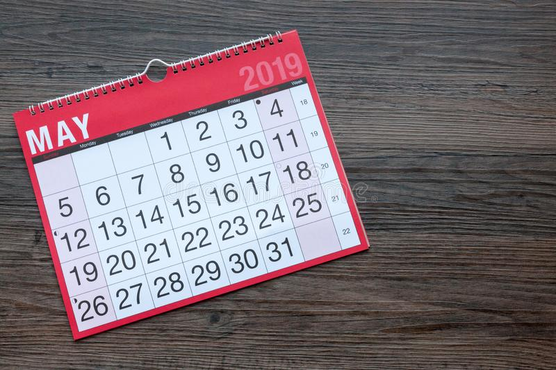 May 2019 Calendar Page. Calendar page showing the month of May 2019 with copy space stock photo
