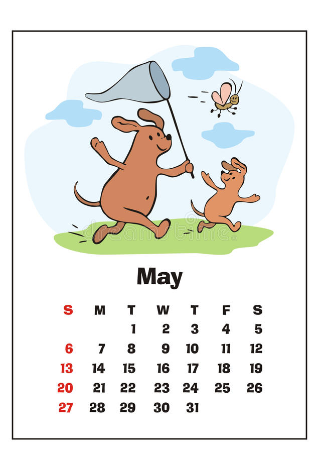 May 2018 calendar royalty free illustration