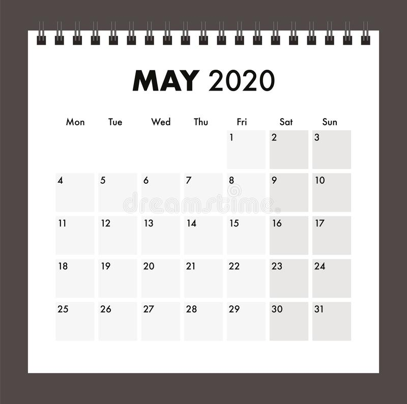May 2020 calendar with wire band royalty free stock photo