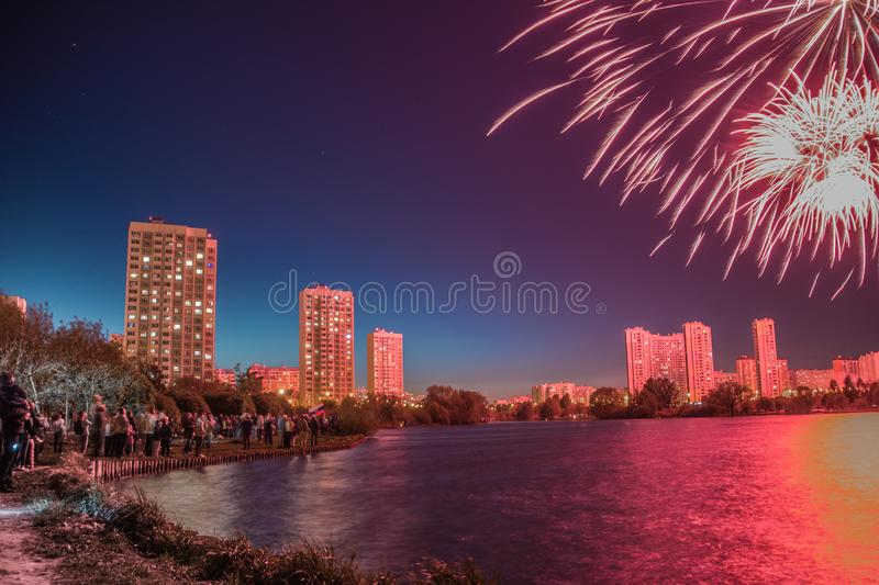May color fireworks royalty free stock images