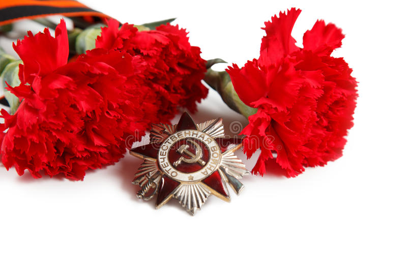 9 May concept. Order of the Patriotic War in St. George's Ribbon. illustrative editorial. isolated on white. Order of the Patriotic War in St. George's Ribbon royalty free stock image