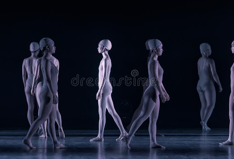 Walking passerby-Huang Mingliang`s dance`No shelter`. In May 25, 2018, the dance drama `no shading` was staged at the theater of Jiangxi science and technology royalty free stock photos