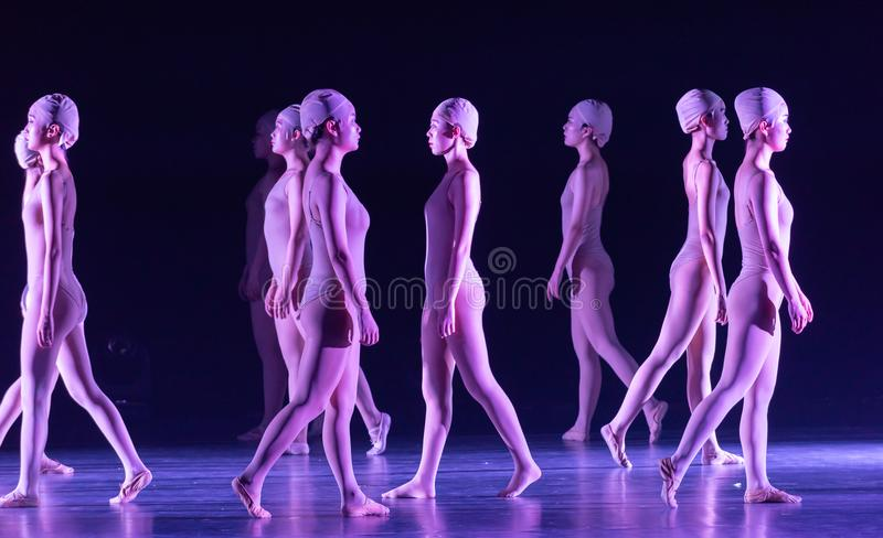 Upright walking-Huang Mingliang`s dance`No shelter`. In May 25, 2018, the dance drama `no shading` was staged at the theater of Jiangxi science and technology royalty free stock photos