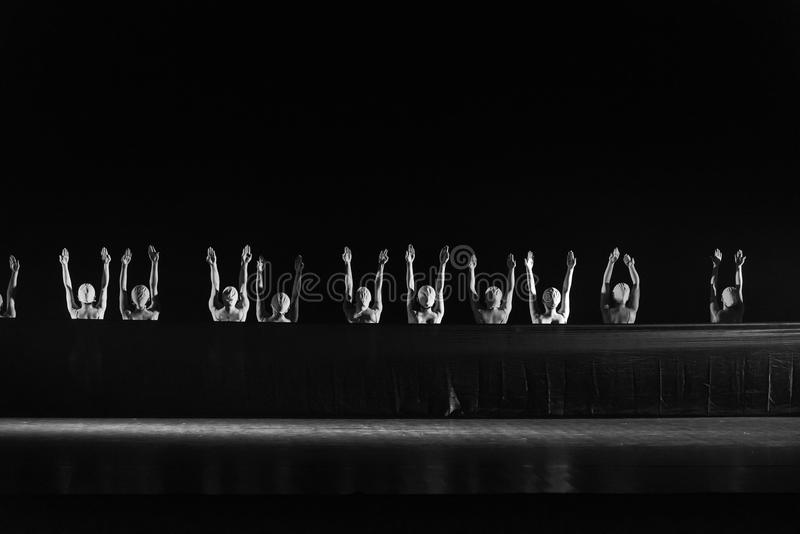 Approval or opposition-Huang Mingliang`s dance`No shelter`. In May 25, 2018, the dance drama `no shading` was staged at the theater of Jiangxi science and stock image