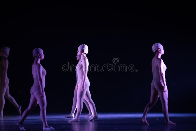 Upright walking-Huang Mingliang`s dance`No shelter`. In May 25, 2018, the dance drama `no shading` was staged at the theater of Jiangxi science and technology stock image