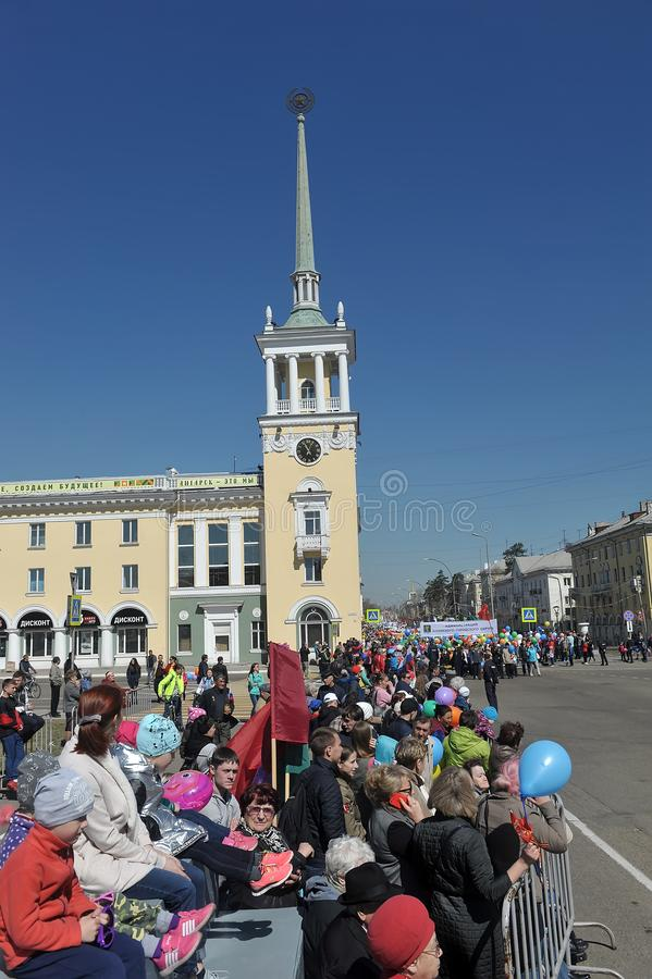 May Day demonstration in honor of the celebration of the Holiday. Russia, Angarsk 01,05,2018 May Day demonstration in honor of the celebration of the Holiday of stock photography