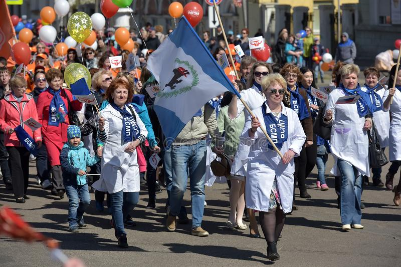 May Day demonstration in honor of the celebration of the Holiday. Russia, Angarsk 01,05,2018 May Day demonstration in honor of the celebration of the Holiday of stock images