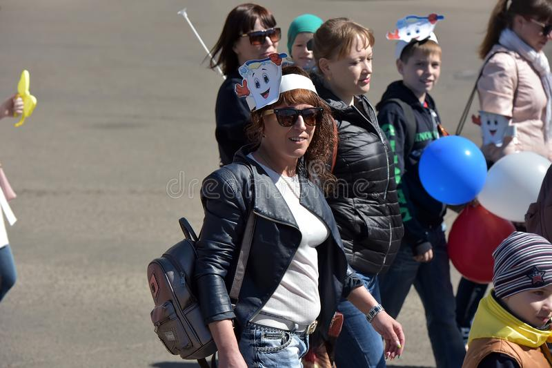 May Day demonstration in honor of the celebration of the Holiday. Russia, Angarsk 01,05,2018 May Day demonstration in honor of the celebration of the Holiday of royalty free stock images