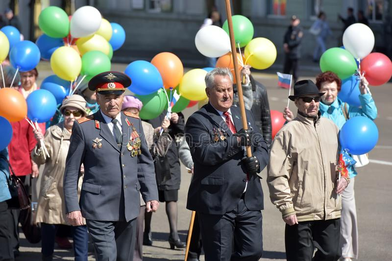 May Day demonstration in honor of the celebration of the Holiday. Russia, Angarsk 01,05,2018 May Day demonstration in honor of the celebration of the Holiday of royalty free stock photos