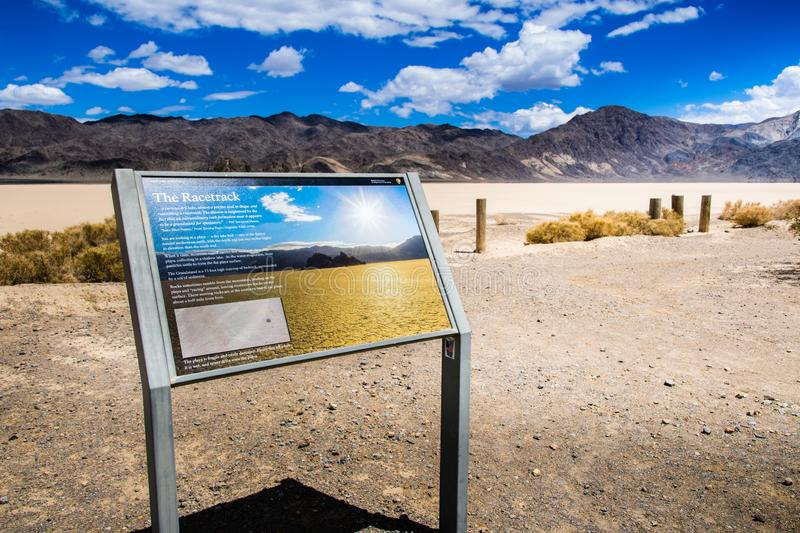 May 27, 2018 Death Valley / CA / USA - Information display providing facts about the Racetrack Playa royalty free stock images