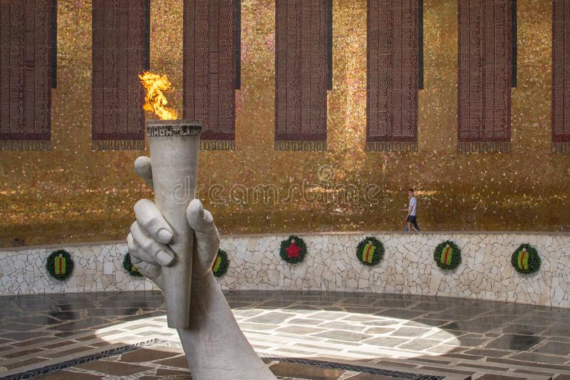 May 23, 2018, the eternal flame memory of the war Volgograd Russia Mamayev Kurgan royalty free stock image
