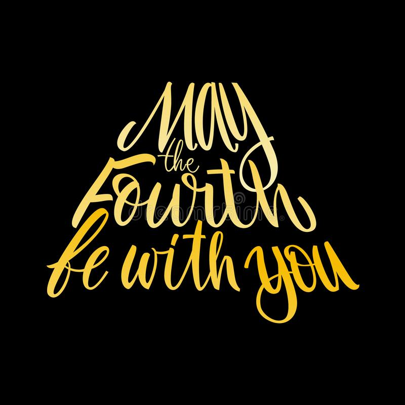 may fourth be you holiday lettering vector illustration black background star wars day orange gradient letters 180572401